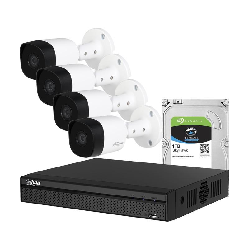 Комплект с 4 броя 2 Mpx камери, XVR  и 1TB HDD