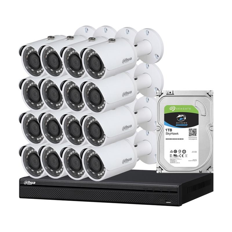 Комплект с 16 броя 2 Mpx камери, NVR  и HDD