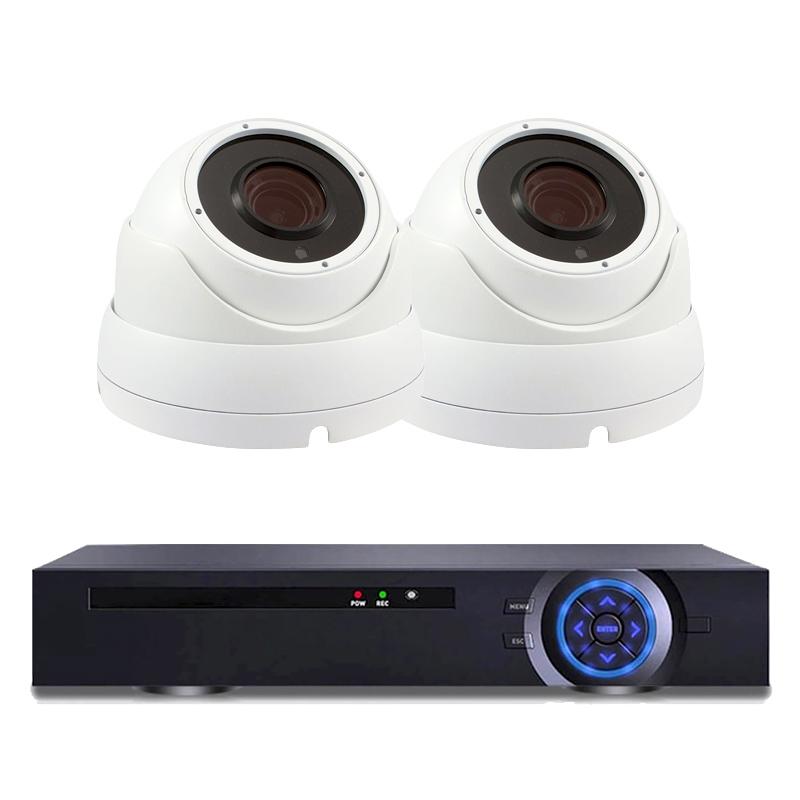 Комплект за видеонаблюдение с 2 Full HD куполни IP камери и NVR
