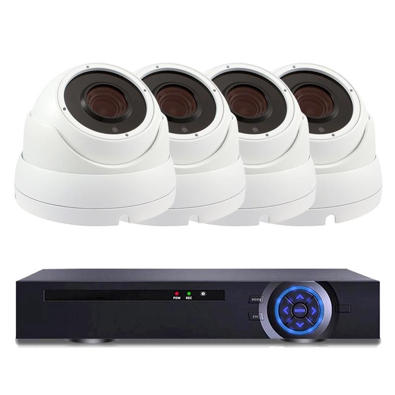 Комплект за видеонаблюдение с 4 Full HD куполни IP камери и NVR