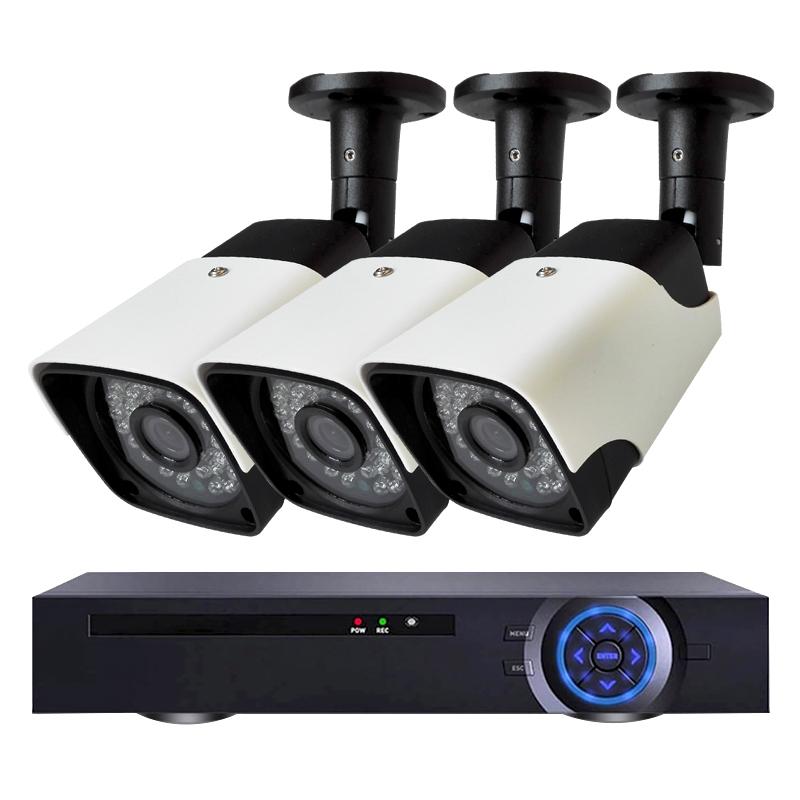 Комплект за видеонаблюдение с 3 Full HD IP PoE камери и NVR