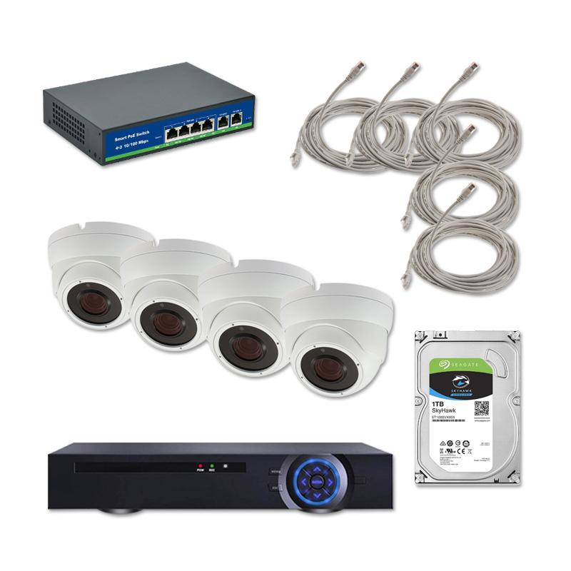 Пълен комплект за видеонаблюдение с 4 IP PoE камери за закрито, NVR, HDD, PoE суич и окабеляване
