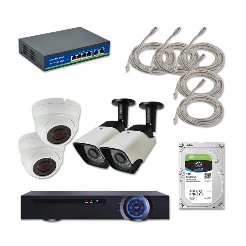 Пълен комплект за видеонаблюдение с 2 IP PoE камери за открито и 2 за закрито, NVR, HDD, PoE суич и окабеляване